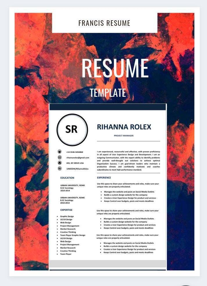 1 Page Resume Professional Cv Template Resume Template Ms Etsy Cv Template Professional Cv Template Resume Template
