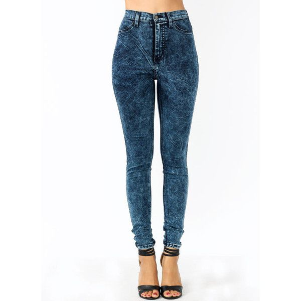 High-Waisted Acid Wash Jeans ($25) ❤ liked on Polyvore featuring jeans, bottoms, high waisted blue jeans, high-waisted jeans, highwaist jeans, high-waisted acid wash jeans and acid wash jeans