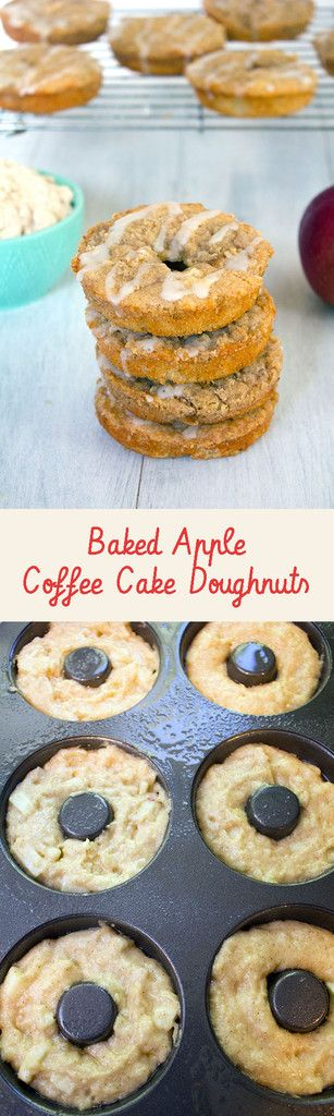 Baked Apple Coffee Cake Doughnuts -- Baked donuts with fresh macintosh apples, apple cider, and a crumb topping | wearenotmartha.com #doughnuts #donuts #apples #coffeecake #breakfast #brunch