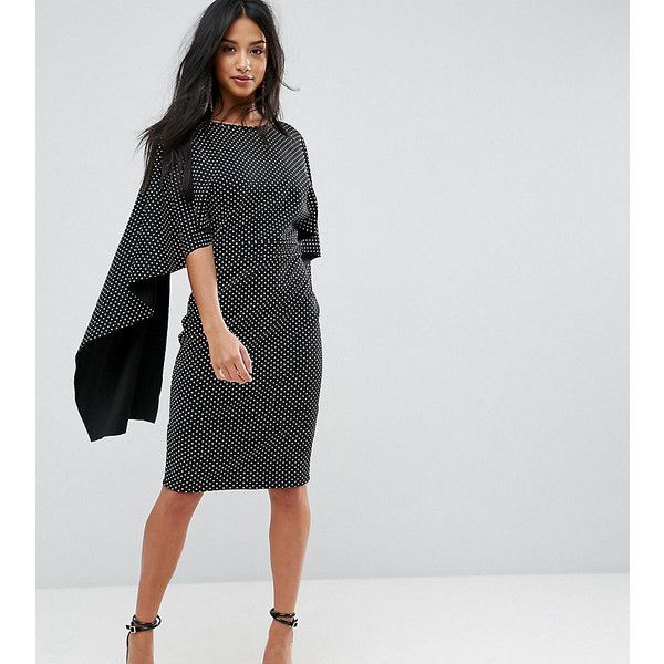 City Goddess Petite Midi Dress With Ruffle Sleeve In Polka Dot Print ($60) ❤ liked on Polyvore featuring dresses, black, tall dresses, petite bodycon dresses, frill sleeve dress, petite dresses and mid calf dresses