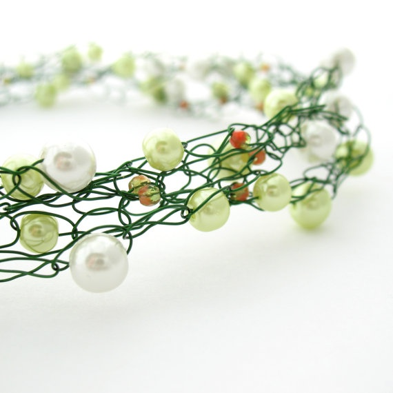 Green & White Wire Crochet Necklace by MoonlightShimmer on Etsy, $27.00