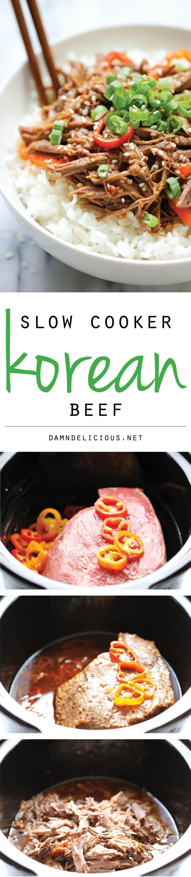 Slow Cooker Korean Beef - Amazingly tender, flavorful Korean beef made right in the slow cooker with just 3 ingredients and 5 min prep!