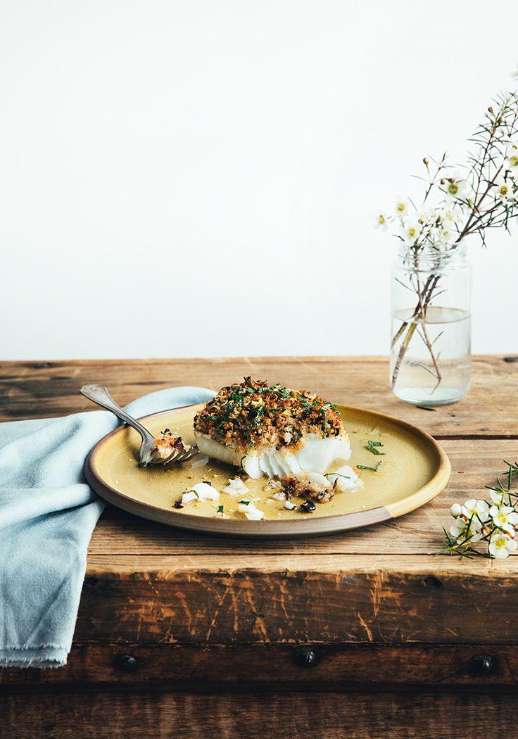 Aiglefin en croûte d'olives, de menthe & de citron