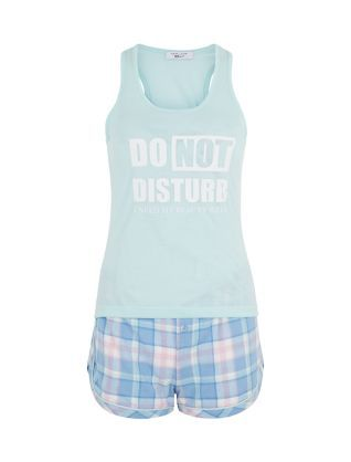 Make sure they get the message in these Teens Mint Green Check Contrast Short Pyjamas.