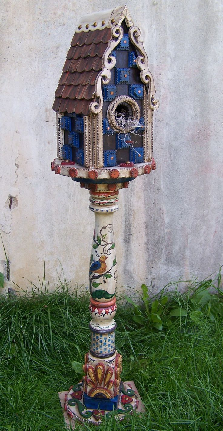Tramp Art Birdhouse on vintage spindle
