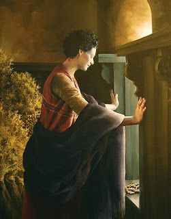 """Waiting for the Promise, by Elspeth Young. Rahab in Hebrew means """"spacious."""" She was a harlot in Jericho. She hid the Hebrew spies in her home and """"let them down by a cord through the window: for her house was upon the town wall."""" They in turn promised to save her and all of her family from the destruction of Jericho (see Joshua 2:12–21). In the painting, Rahab awaits the fulfillment of that promise as Jericho is destroyed. Rahab's faith is discussed by Paul (see Hebrews 11:31), and her good…"""