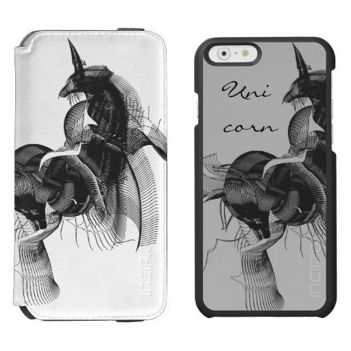 Digital Unicorn Black Lineart Abstract Figure / Incipio Watson™ iPhone 6, 2-in-1 Wallet Case + Interior Case! #fomadesign