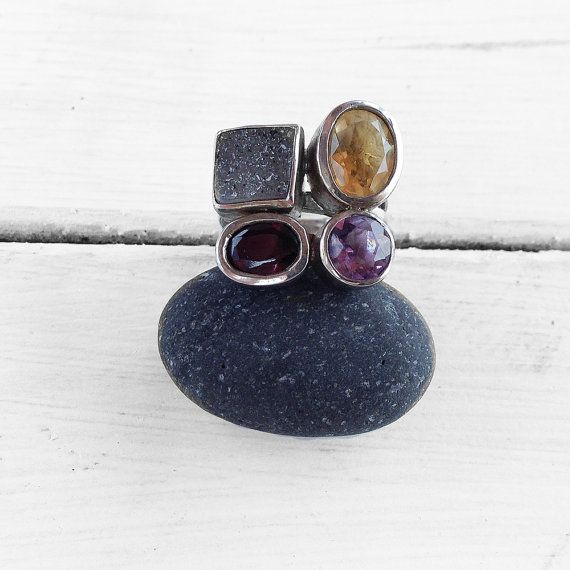 Multi Gemstone Ring Sterling Silver Natural by SunSanJewelry