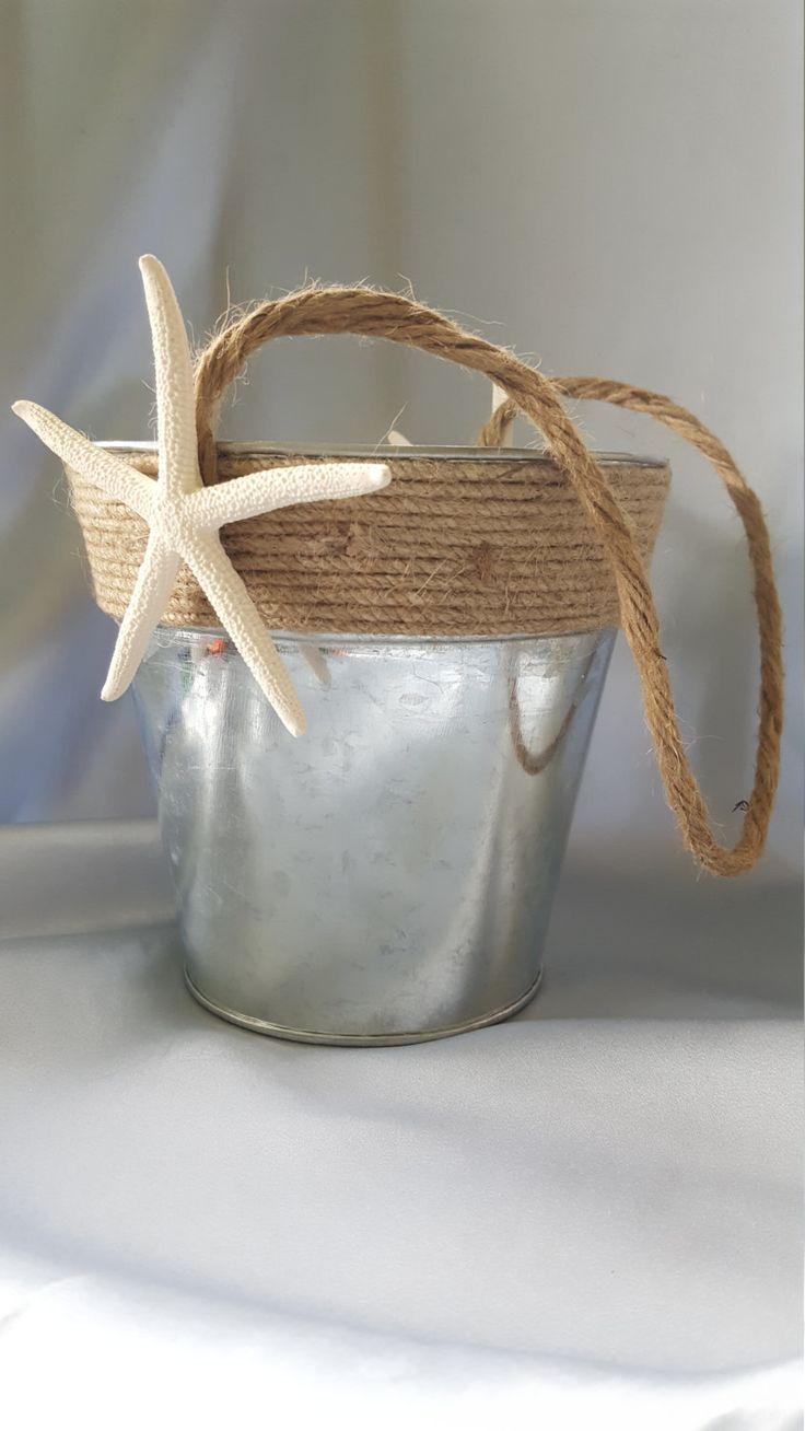 Beach Wedding Flower Basket Galvanized Metal Bucket Starfish Accent Burlap Twine Unique By