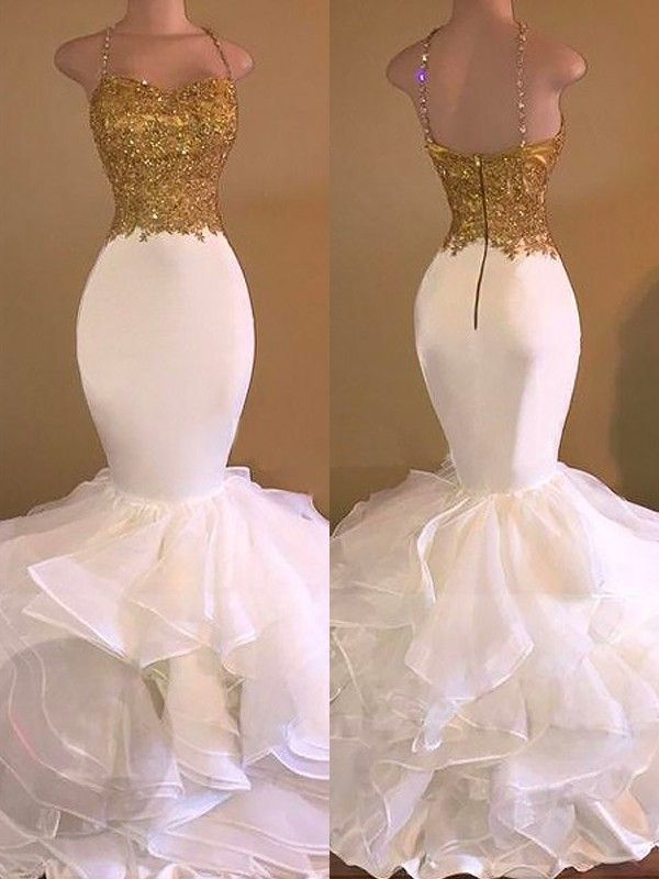 91ab4a7c Mermaid Spaghetti Straps Applique Organza Floor-Length Prom Dresses ...