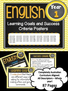 Grade 1 All English  Learning Goals & Success Criteria!This packet has all the posters you will need to display the learning goals for the whole year:Grade 1 Australian Curriculum English Reading and Writing- Speaking and Listening(Language, Literature, Literacy)All content descriptors have been reworded into smart goals with an accompanying poster showing the success criteria needed to achieve these goals.