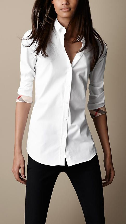 BURBERRY - Slim Fit Check Cuff Shirt Color: White