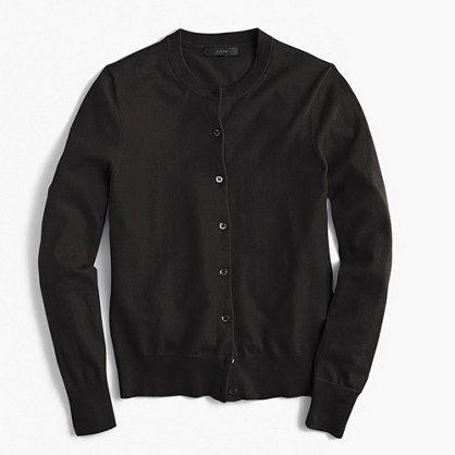 J. Crew cotton Jackie cardigan sweater in black