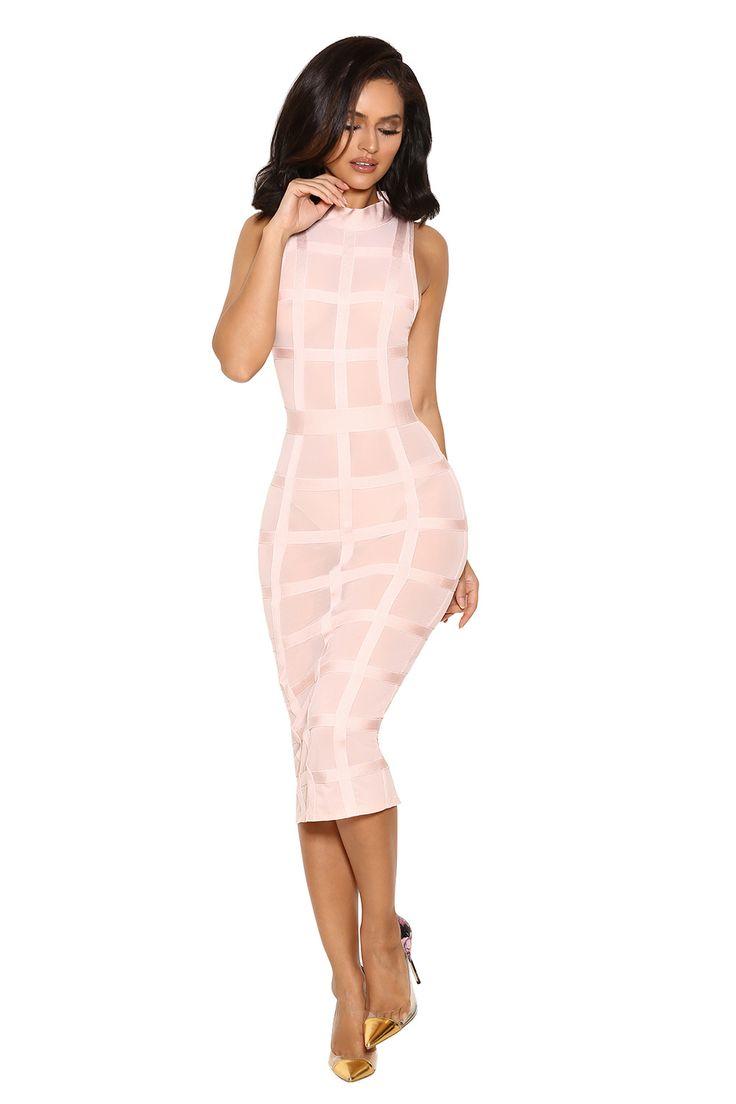 Clothing : Bandage Dresses : 'Marsha' Light Pink Bandage Dress with Sheer Mesh
