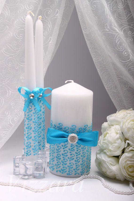 Wedding unity candle Aqua Blue  Hand-PAINTED-Unity от VIZZARA