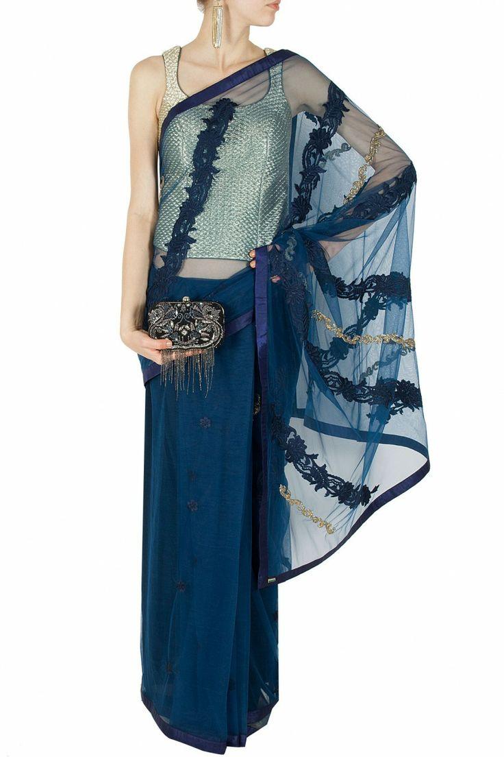 Navy blue embellished lace and tulle sari BY JADE. shop now at perniaspopupshop.com #perniaspopupshop #clothes #womensfashion #love #indiandesigner #jade #happyshopping #sexy #chic #fabulous #PerniasPopUpShop #ethnic #indian