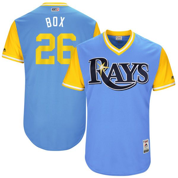 """Brad Boxberger """"Box"""" Tampa Bay Rays Majestic 2017 Players Weekend Authentic Jersey - Light Blue - $199.99"""