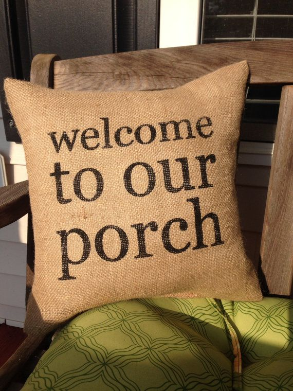 Burlap Pillow Front Porch Pillow/Welcome by TheSunnyHunnyBee