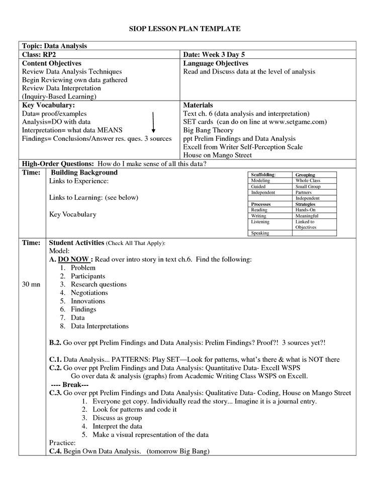 SIOP LESSON PLAN TEMPLATE by hbaKk15 yJQi1H6G Profecional - siop lesson plan templat