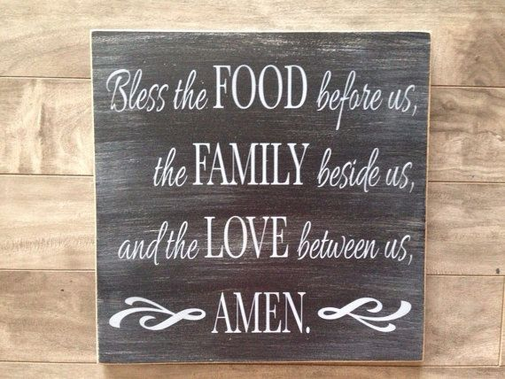 Bless the food before us sign by CraftyPenguinBC on Etsy - kitchen or dining room