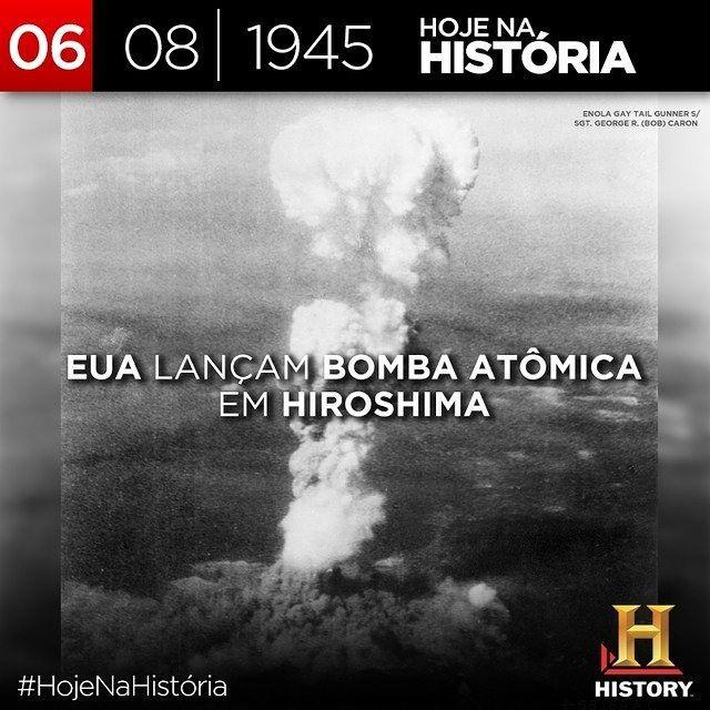#HojeNaHistória Há exatos 70 anos a primeira #bombaatômica do mundo era lançada. Às 8:16 no horário japonês o #EnolaGay bombardeiro B-29 dos EUA jogou a bomba atômica #LittleBoy sobre a cidade de #Hiroshima. by canalhistory