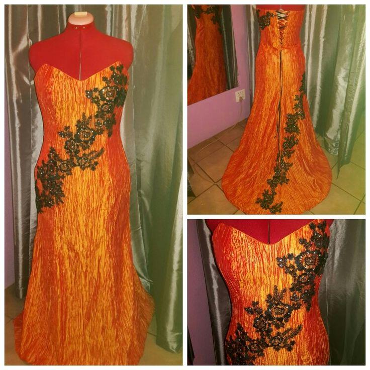 Orange matric farewell dress.