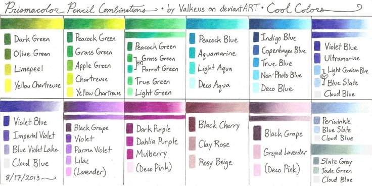 Prismacolor Pencil Combinations III - Cool Colors by Valkeus.deviantart.com on @deviantART