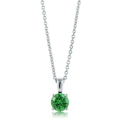 Sterling Silver 925 Emerald CZ Solitaire Pendant Necklace - 5mm, Valentine's Day Gift BERRICLE. $37.99. Stone Type : Cubic Zirconia. Gender : Women. Stone Total Weight (ct.tw) : 0.46. Metal : Stamped 925. Save 60% Off!