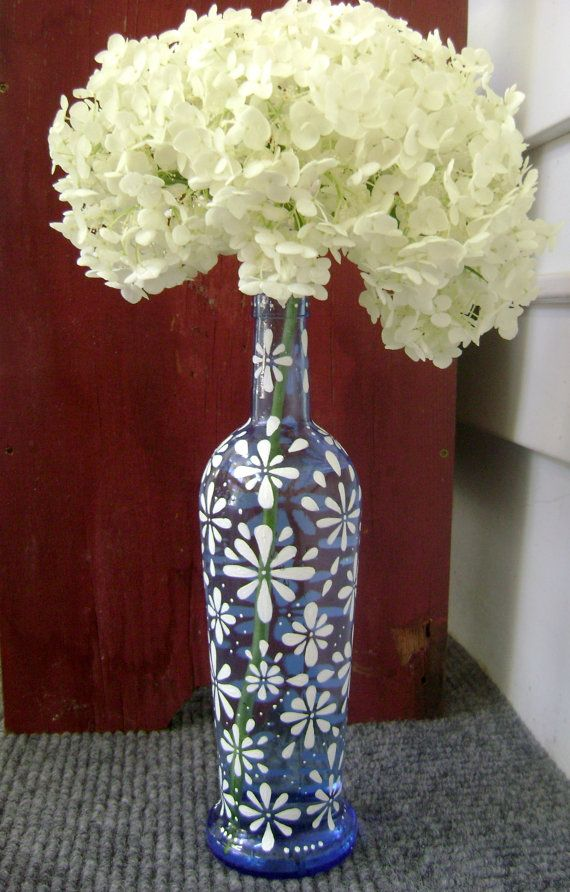 Daisy vase upcycled hand painted wine bottle for Painting flowers on wine bottles