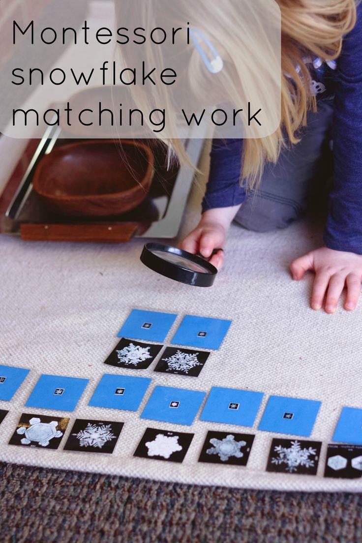 Montessori snowflake matching work