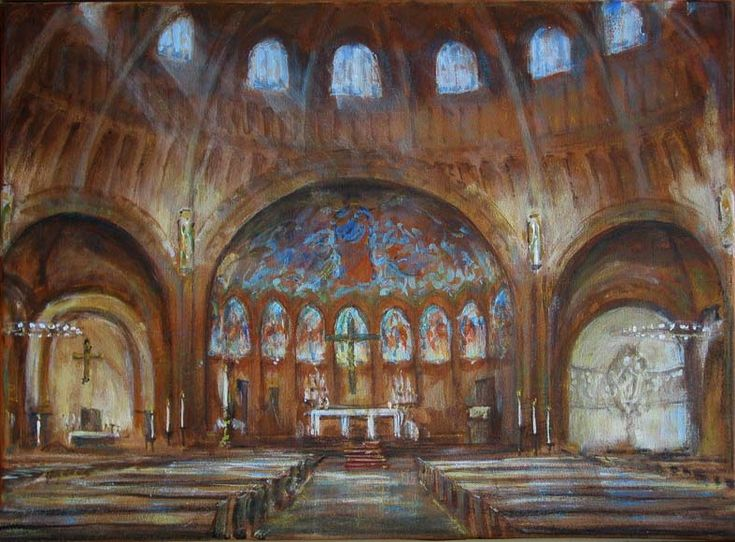 Church interior painting by artist Eduard Moes