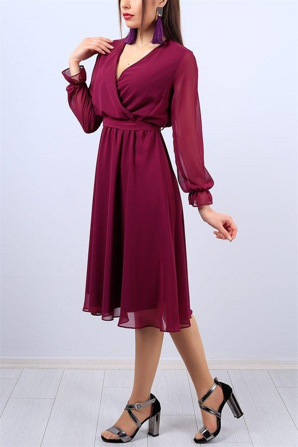 49 95 Tl Kruvaze Yaka Murdum Bayan Sifon Elbise 11559b Modamizbir Sifon Elbise Elbise Moda Stilleri