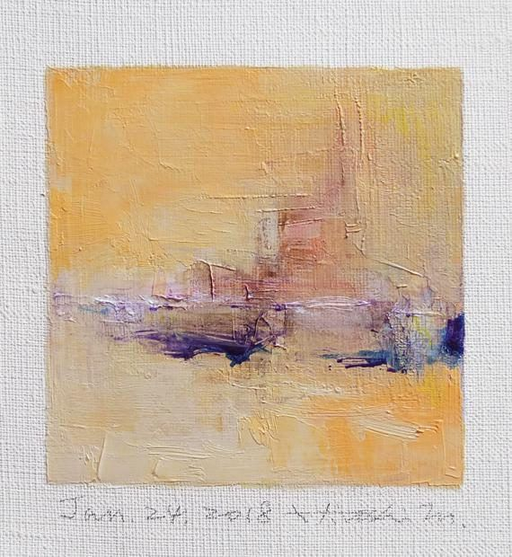 Jan. 24 2018 Original Abstract Oil Painting 9x9 painting