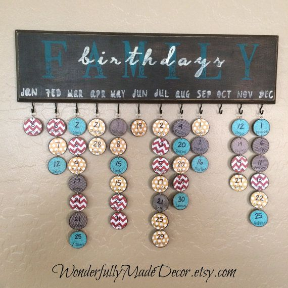 Family Birthday Board - Birthday Calendar - Special Dates - Family Celebrations - Tags for birthdays on Etsy, $45.00