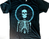 Cycling Devotional two color print on Heather Evergreen size XL. $20.00, via Etsy.