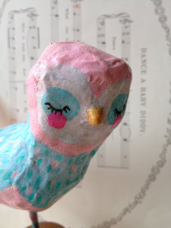 Pink & Blue Birdie  paper mache bird by heartsandneedles on Etsy, $33.00