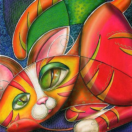 Peintures cubistes de chats by Alma Lee - BONHEUR DE LIRE