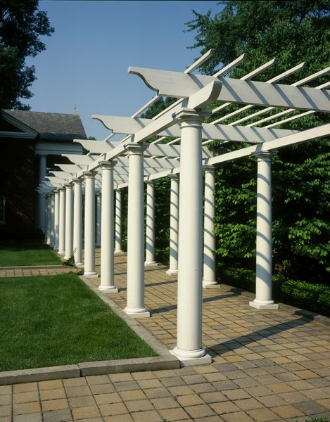 "PolyStone® Fiberglass Columns Tuscan Capitals & Bases Plain Tapered FRP Shafts 10"" x 8' Pergola St. Paul Episcopal Church Memorial Garden 22 column pergola, Commercial Outdoor structures, Commercial, Exterior, Churches Photography: David Paternikte  www.columns.com  Chadsworth Columns"