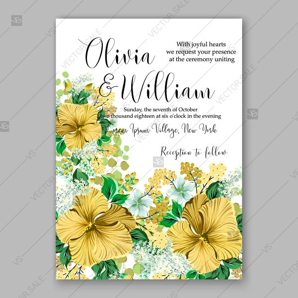 Yellow Sunflower Hibiscus Wedding Invitation Tropical Floral Vector