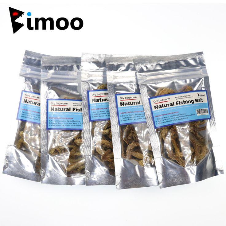 Bimoo 5 Bags Dry Lugworm / Sanworm Fishing Bait Saltwater Freshwater Fishing Lures for Catfish Cod Carp Fishing