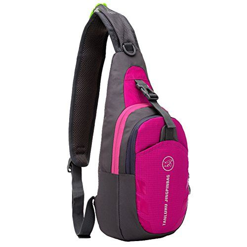 Shoulder Backpack, Sunhiker C821 Casual Cross Body Bag Outdoor Sling Bag Chest Pack with Adjustable Shoulder Strap for Cycling Hiking Camping Travel and Men Women (C821/Hot Pink)