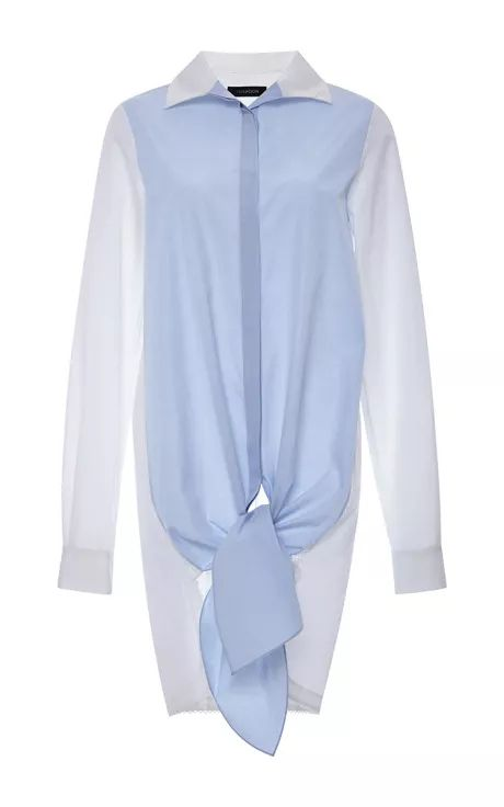 Blue Cotton Shirting Tie Front Shirt by Thakoon for Preorder on Moda Operandi