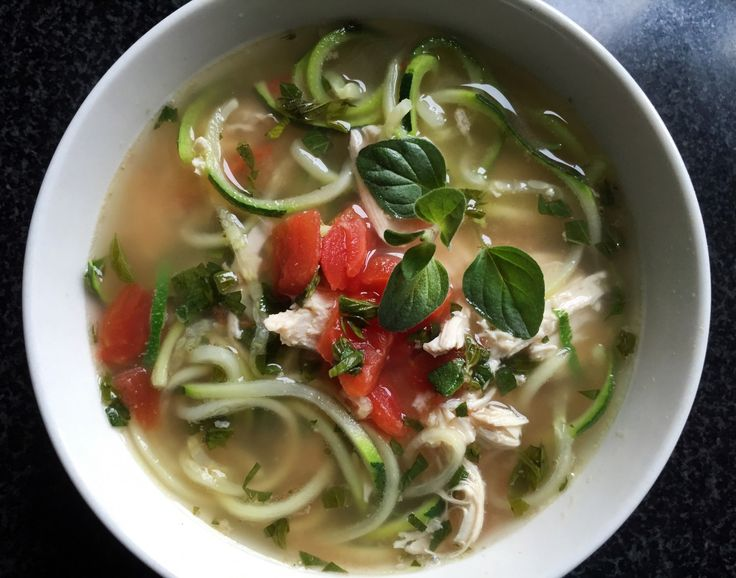 Chicken Zucchini Noodle Soup - Feeling under the weather? This is not your grandma's chicken noodle soup, but you'd never be able to tell with this gluten-free, paleo substitute. If it doesn't end up making you feel physically better, it's practically guaranteed to lift your spirits.