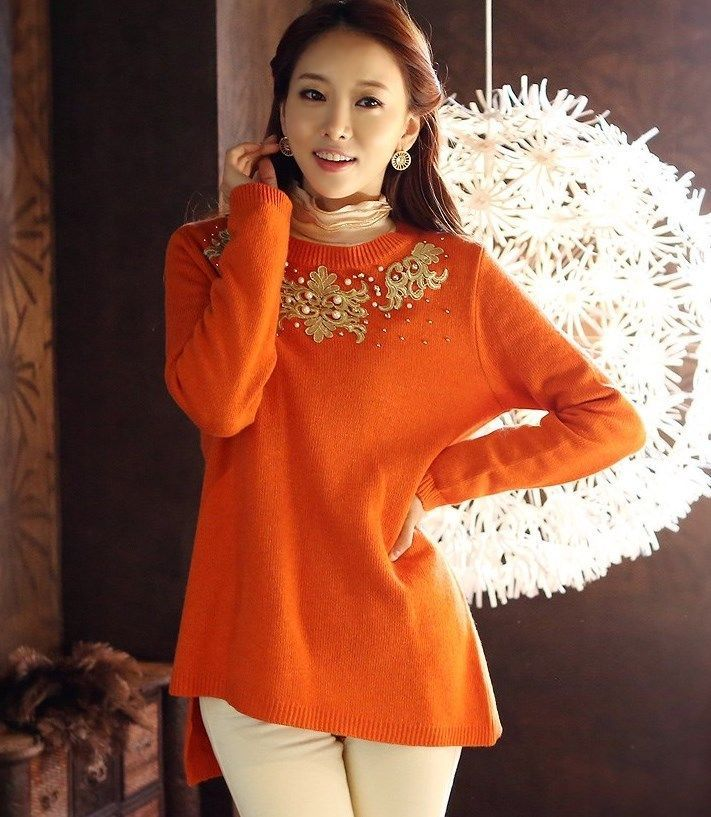 StyleOnMe_Women's Unbalanced Pointed Knit Sweater_Orange_Free Shipping_Korea #StyleOnMe #BoatNeck #BlackFriday www.styleonme.com www.facebook.com/StyleonmeEn