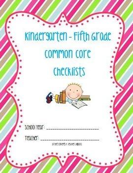 Common core standards checklists kindergarten fifth grade