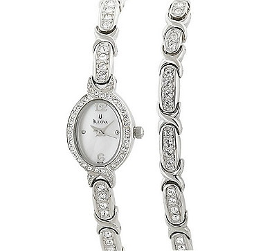 Dress to impress with this stunning watch and bracelet set by Bulova.