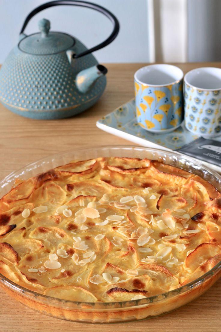 Quiche sans pâte aux pommes, chocolat blanc et amandes effilées  (ultra light)