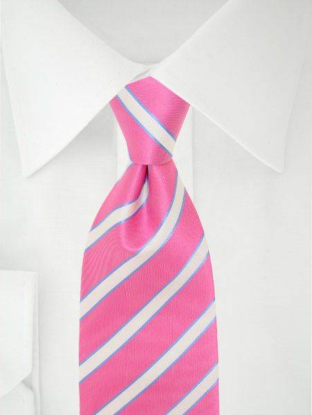 Stropdas roze/wit/blauw strepen