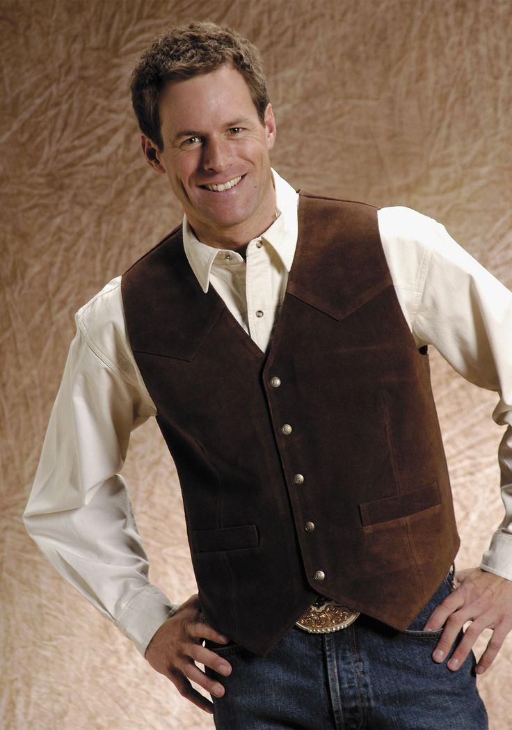 Roper Mens Brown Silky Cow Suede Leather Basic Big Man Western Vest