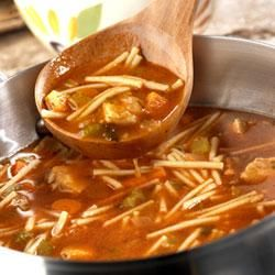 Chicken & Spaghetti Soup ~ I would be tempted to add a can of petite diced tomatoes also to this recipe. A reviewer used beef broth & hamburger  instead of chic. broth & chicken as another option.
